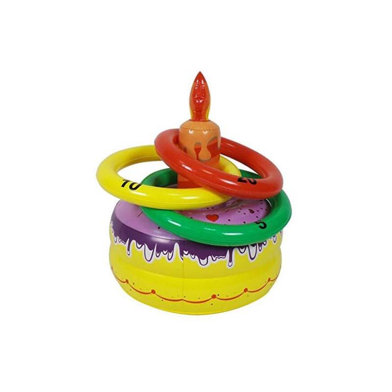 充气蛋糕抛圈游戏儿童充气玩具套圈充|气蛋糕投掷圈户外游戏套圈