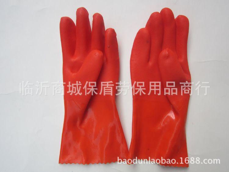 东亚802PVC家用手套 棉毛布里劳保手套批发 耐油耐酸碱手套
