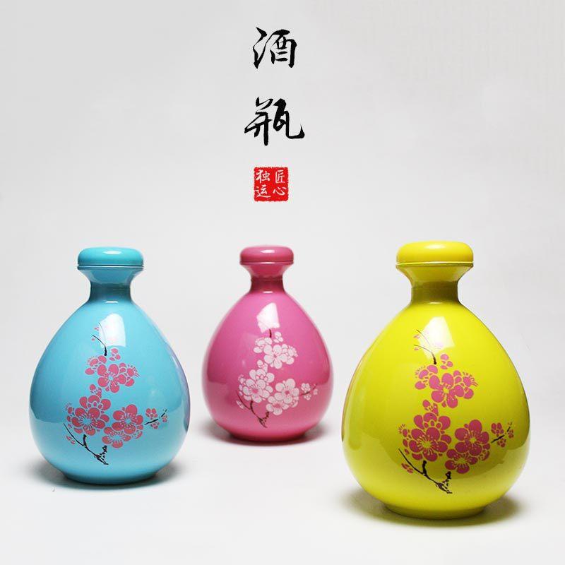 三生三世仿古桃花醉酒瓶500ml陶瓷酒坛空玻璃酒瓶 邯郸文丰
