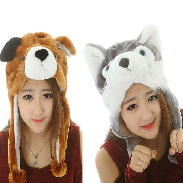 万圣节圣诞狗年冬毛绒玩具狗保暖护耳帽表演道具帽可定制加LOGO