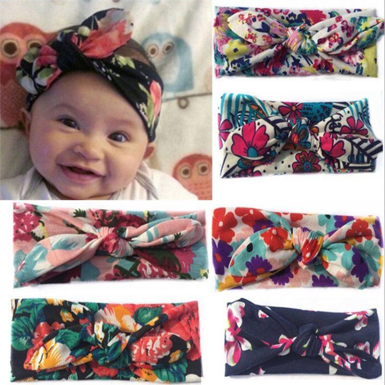 新款儿童宝宝印花打结发带 欧美兔耳朵头带 简约波西米亚时尚发饰