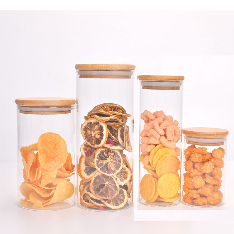 厂家直销玻璃密封罐 厨房外贸 日用百货茶叶罐 竹盖高硼硅玻璃储物罐