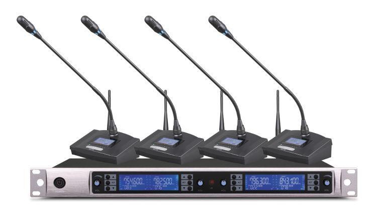 一拖四 专业无线会 议鹅颈电容麦克风  台式