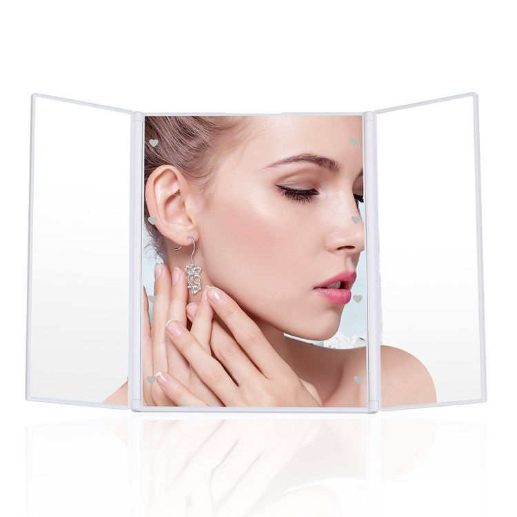 建源达LED镜子定做 带灯化妆镜 led便携折叠三面折叠发光美妆镜子