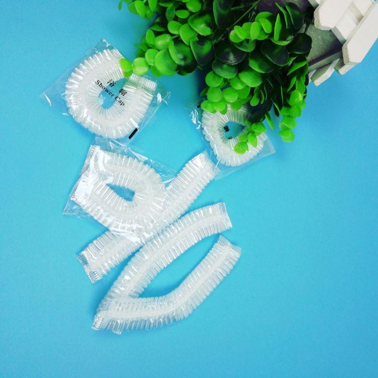 一次性塑料浴帽透明浴帽 PE防水防尘浴条形帽帽单只独立包装定制