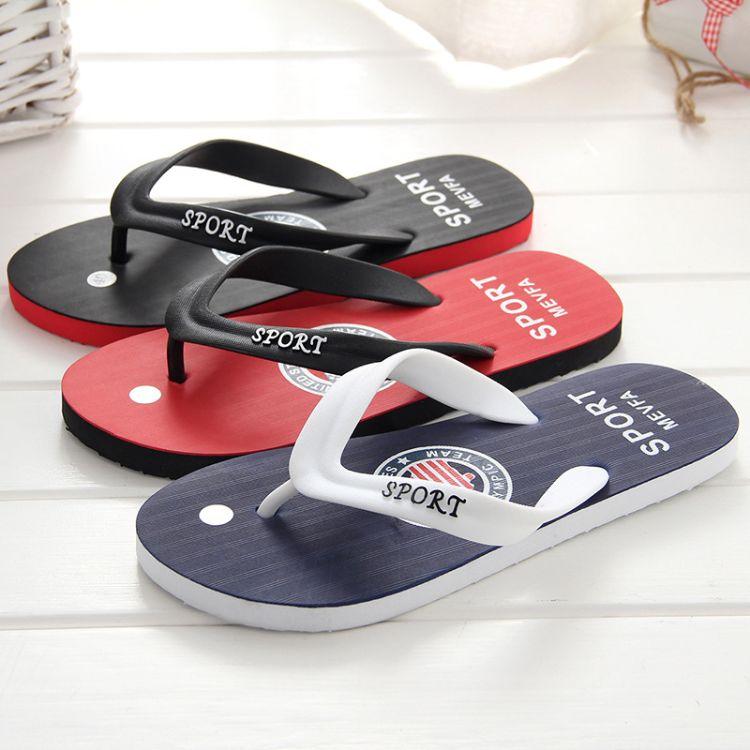 淘宝户外潮流时尚男士人字拖 时尚字母防滑橡胶沙滩拖鞋批发