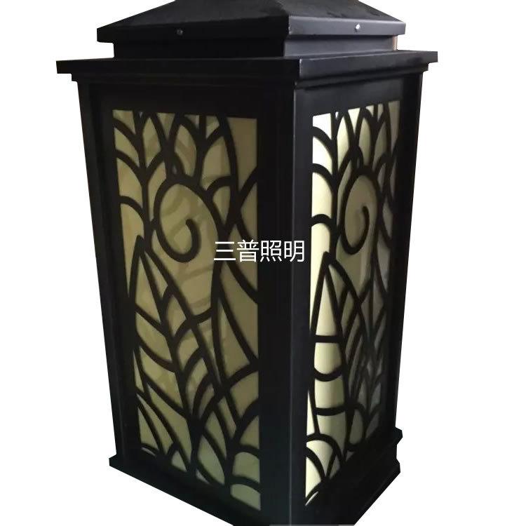 大号不锈钢云石柱头灯 加光切割花型 树叶造型 450x450x950mm