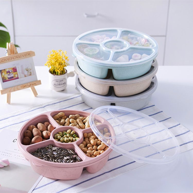 厂家直销礼品定做小麦秆干果盘 5格带盖麦香盘干果瓜子糖果盒