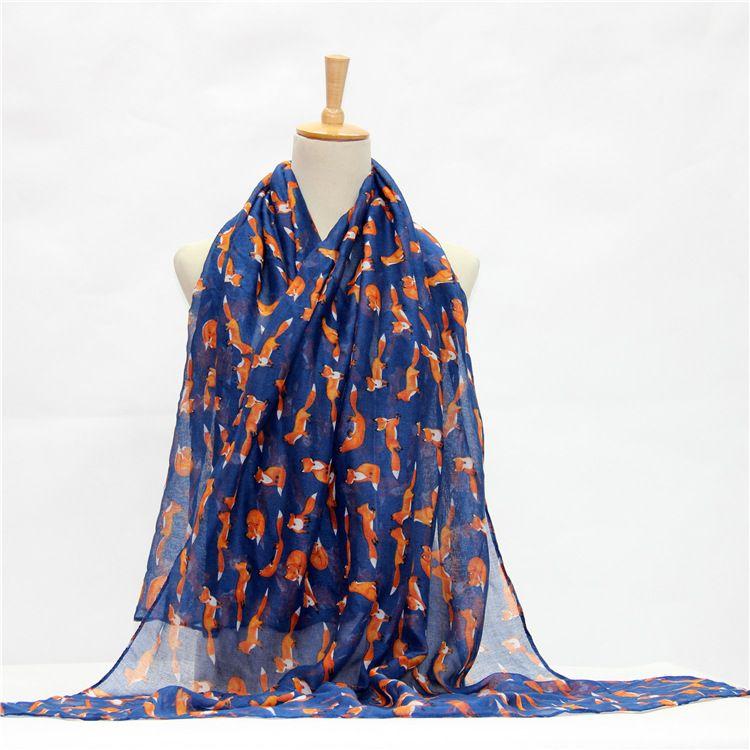 外贸爆款巴厘纱印花丝巾狐狸动物图案围巾wish速卖通ebay货源