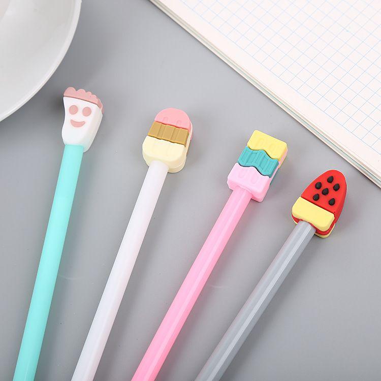 创意立体硅胶头雪糕中性笔 可爱卡通学习文具 办公用品水性签字笔