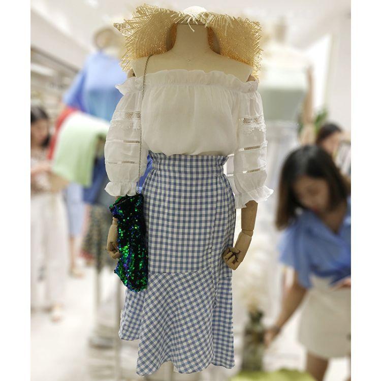 18351#胖妹妹mm一字领雪纺衫两件套夏套装 清仓款不退不换