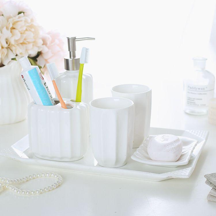 陶瓷卫浴五件套 欧式洗漱套装 卫生间浴室用品套件牙具漱口杯批发