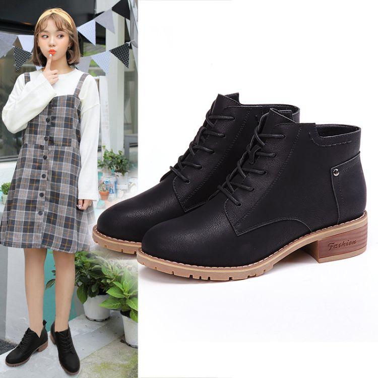 2017冬季新款韩版粗跟厚底短靴女春秋系带马丁靴女中跟防水台