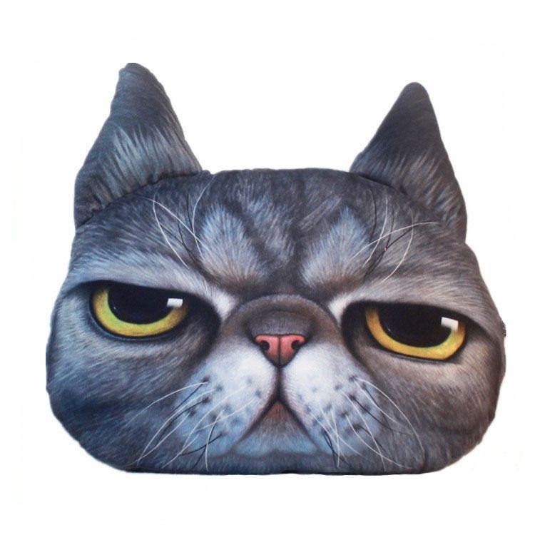 毛绒玩具韩式猫咪靠垫动物卡通喵星人可爱毛绒午睡抱枕仿真大脸猫