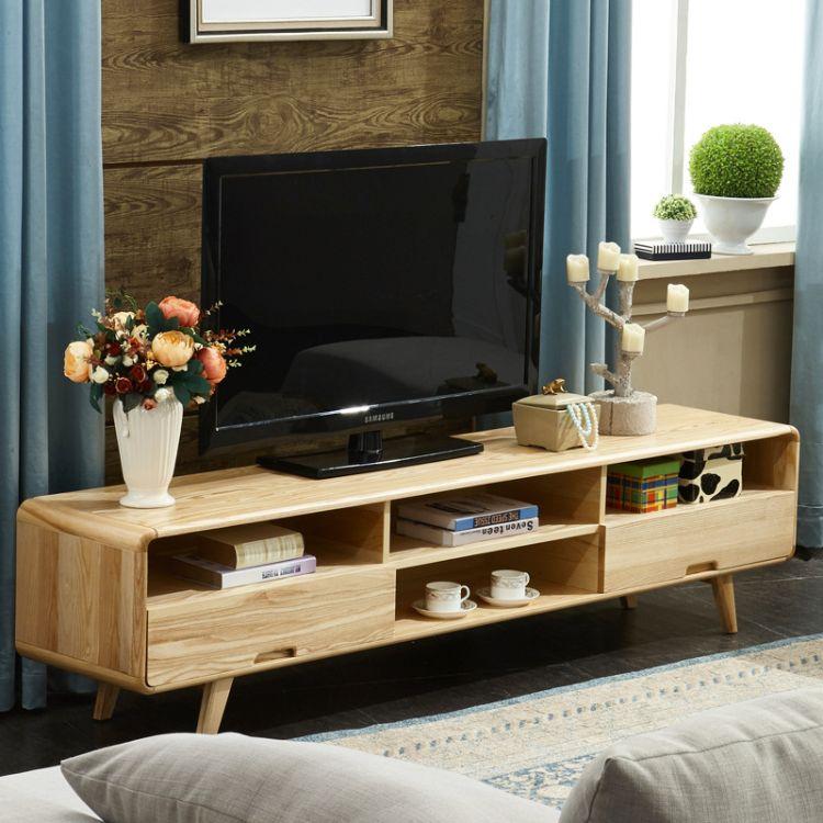 北欧全实木电视柜组合套装 简约现代小户型客厅影视柜白蜡木地柜