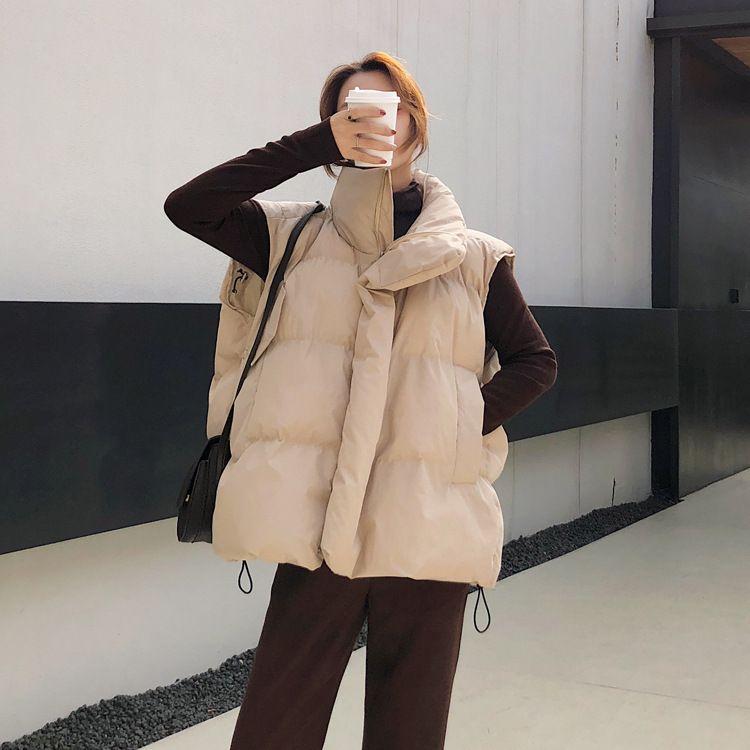 2019冬季新款女装韩版时尚短款学生小马甲保暖学生棉服宽松百搭潮淘宝直播货源