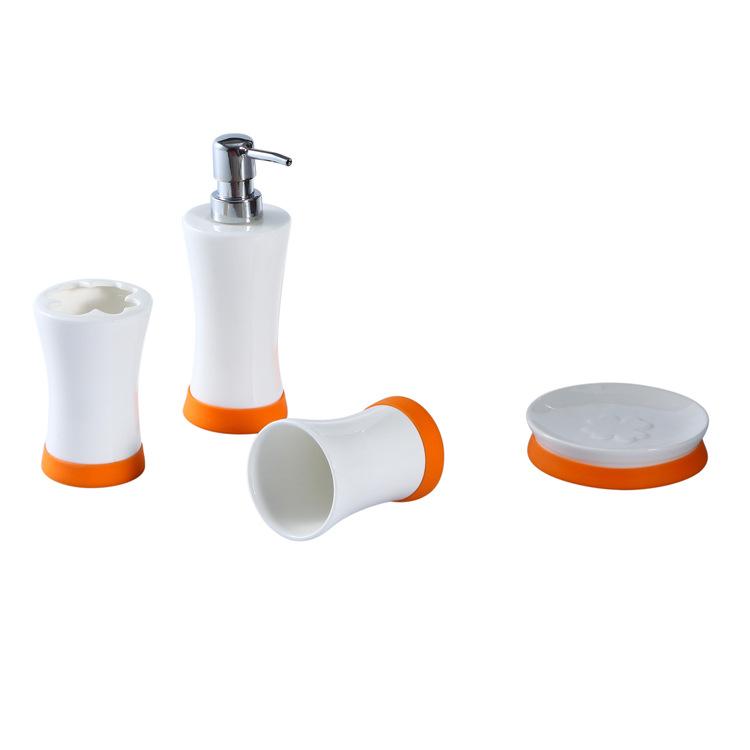 厂家批发 陶瓷硅胶沐浴四件套装 四叶草洗浴系列logo可定制