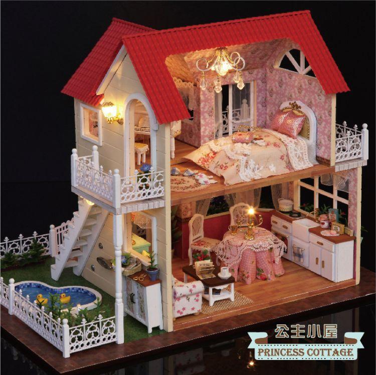 公主小屋diy手工模型梦幻公主别墅玩具女孩女生娃娃屋礼物