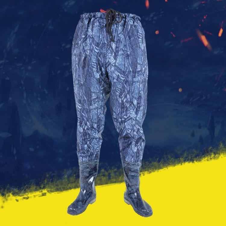 牛仔蓝半身齐腰工作连体下水裤鞋 户外防水耐磨涉水服