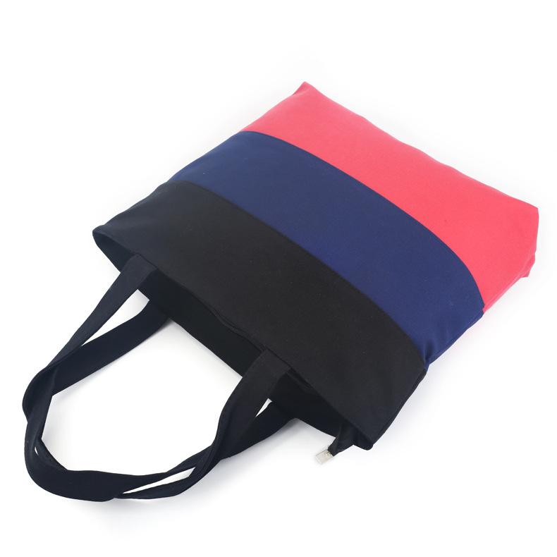 定制新款拼接帆布袋 女士单肩文艺环保布包 时尚简约女士手袋