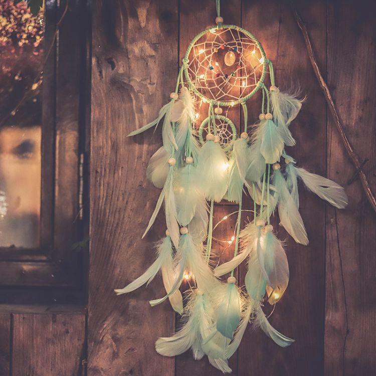 网红少女心房间布置捕梦网挂饰INS女生卧室彩灯装饰浪漫生日礼物