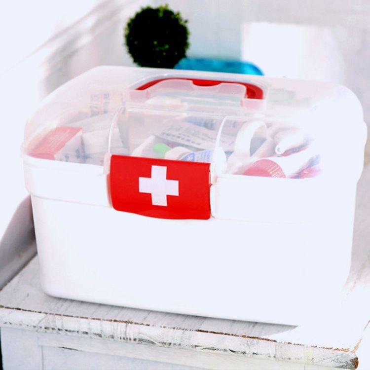 家用中号塑料药箱多功能收纳药箱便捷手提收纳盒礼品广告定制Logo