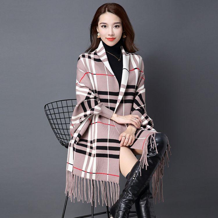 春季外套女秋装羊毛披肩围巾女两用 双面带袖保暖格子针织衫斗篷