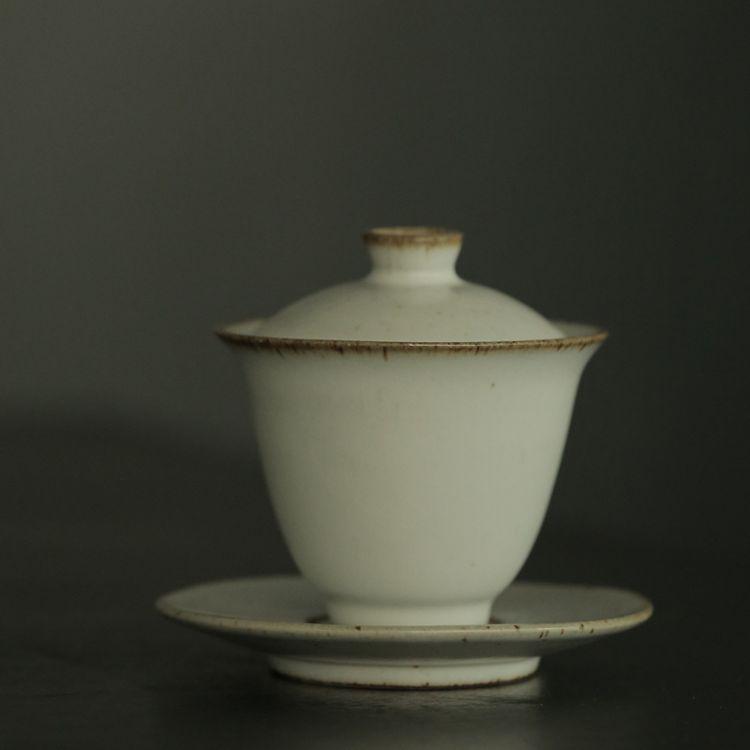 汝窑开片功夫茶具茶碗纯色泡茶碗盖碗加厚陶瓷三才碗敬茶杯