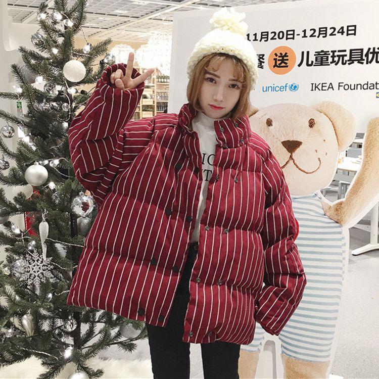 2017  韩版宽松加厚条纹面包服短款立领棉服棉衣潮
