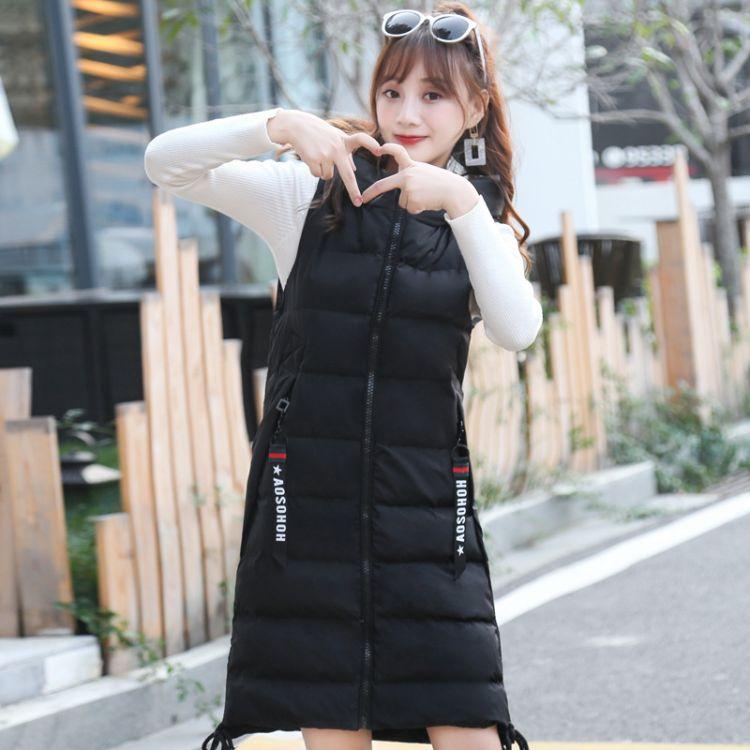 马甲棉服女中长款2018秋冬季新款韩版宽松时尚休闲大码厚无袖外套