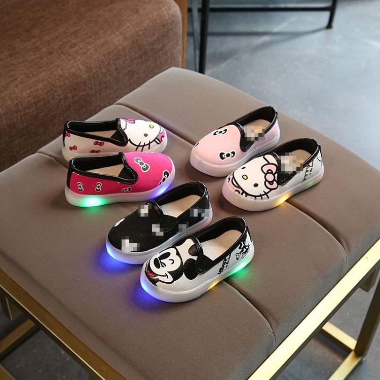 LED男女亮灯帆布鞋中小童卡通发光鞋轻便宝宝鞋童鞋夏季