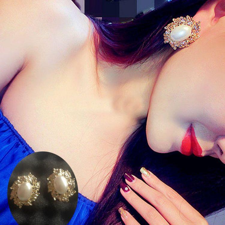 新款夜店夸张气质大珍珠树叶巴洛克耳环 韩版大耳钉 女配饰品