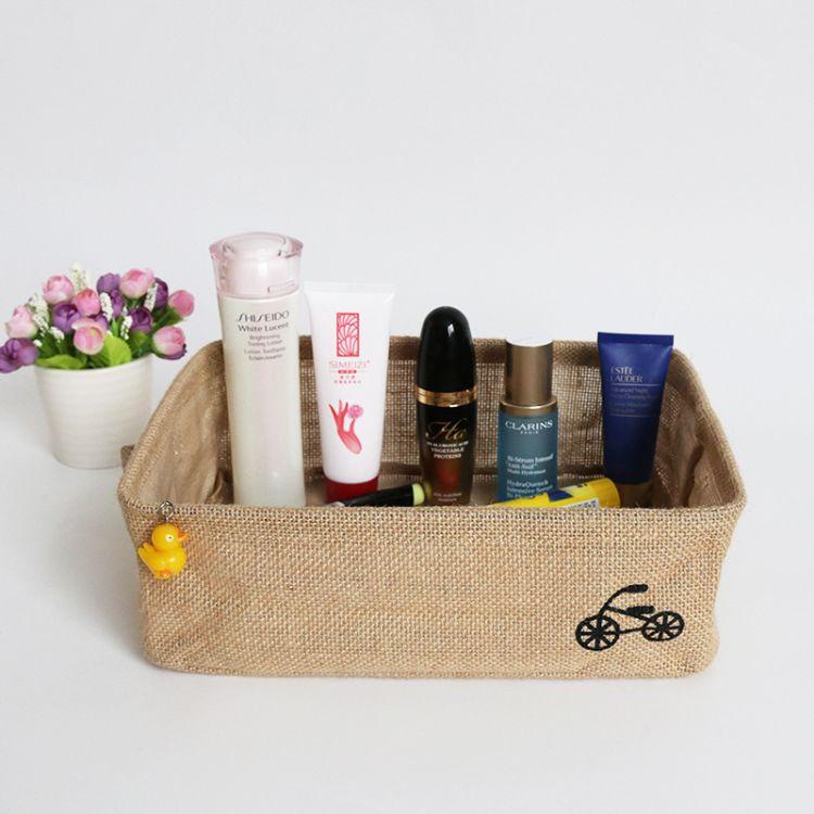 棉麻布藝收納籃收納框衣物雜物零食收納筐整理籃