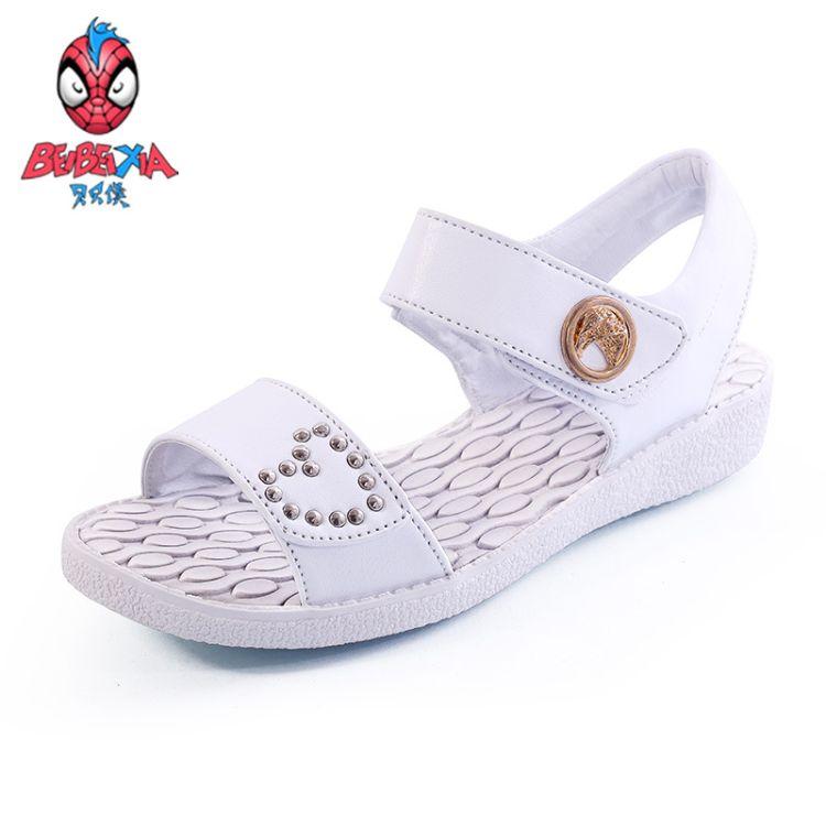 清仓2016夏季女中童欧美风童凉鞋简约轻便舒适儿童纯色沙滩鞋学生