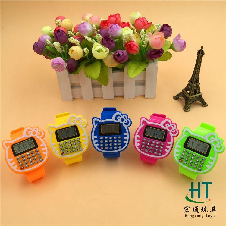 皮带KT猫计算器手表儿童电子表批发学生考试专用淘宝促销礼品