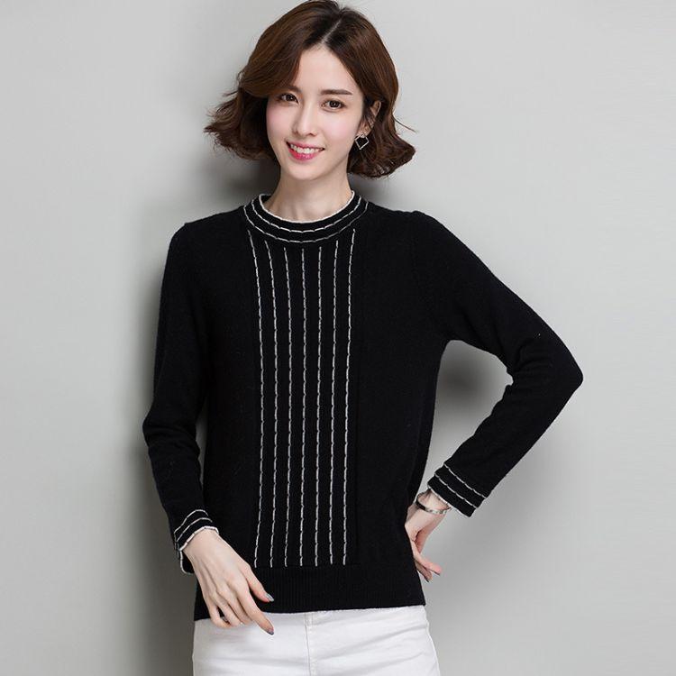 2018年韩版新款冬季气质木耳边点缀优雅小半高领全羊毛女式毛衣