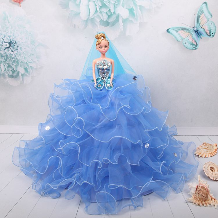 批发天蓝齐地婚纱娃娃可爱公主新娘儿童玩具手工女孩生日礼物摆件
