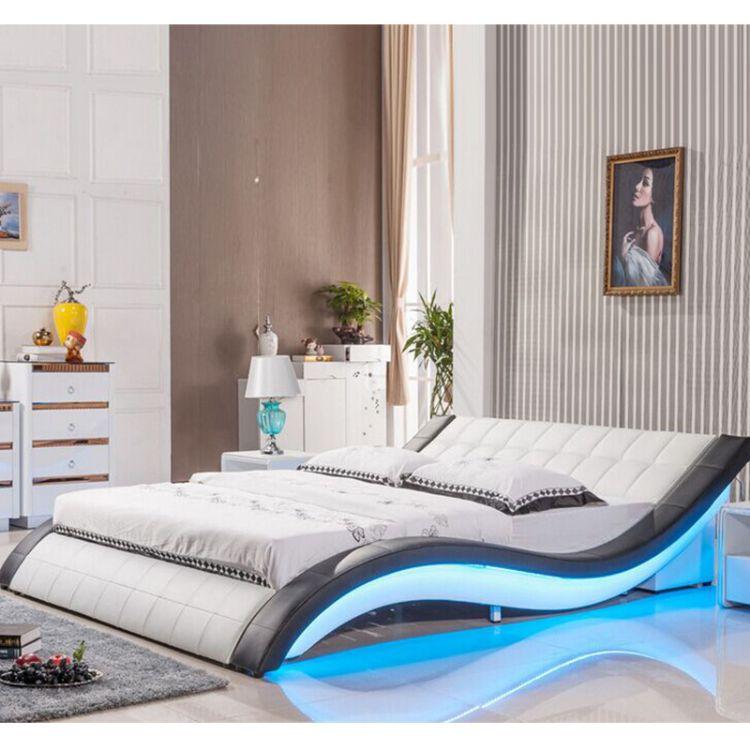 佛山厂家直销 主卧真皮双人床1.8米简约时尚LED灯榻榻米音响软床