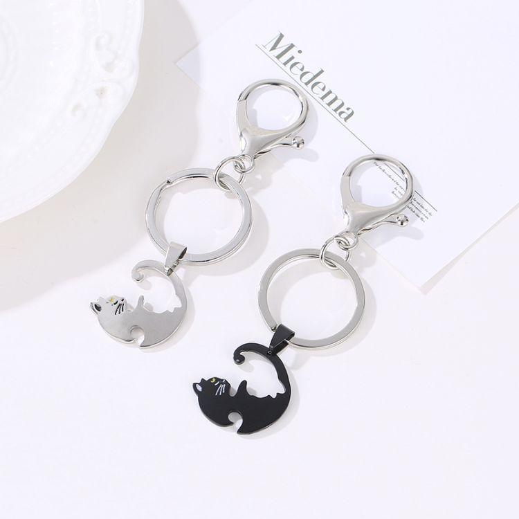 欧美新品猫咪情侣钥匙扣个性男女通用小动物挂饰跨境货源配件批发