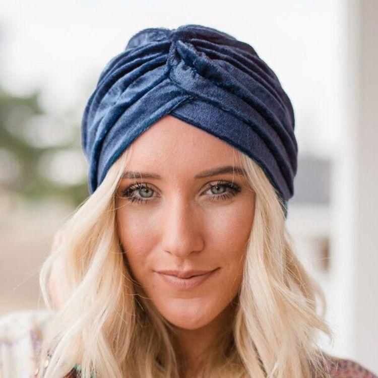 2017新款欧美女士毛绒褶皱印度帽 大人包头帽 成人套头时尚帽