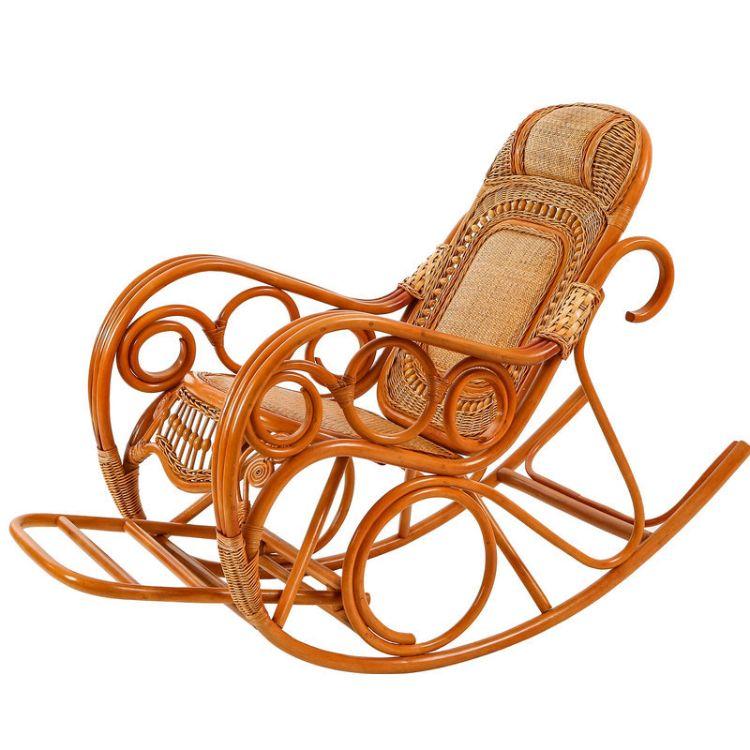 昌盛藤器 金珠实木大摇椅 藤编躺椅厂家可定制 成人躺椅摇椅 阳台藤制摇椅懒人椅