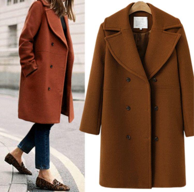 速卖通亚马逊秋冬欧美跨境大码女装羊毛呢大衣中长款风衣毛呢外套