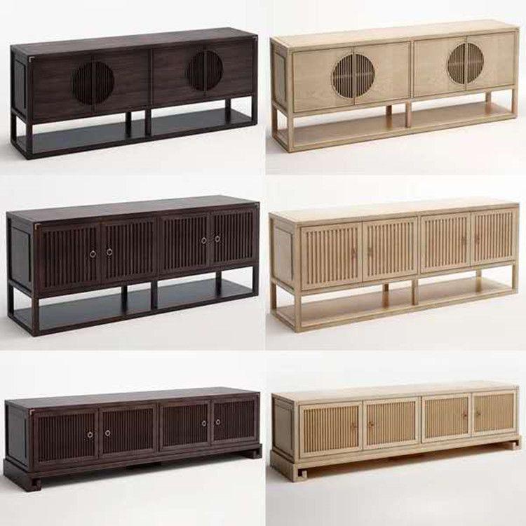 新中式实木电视柜禅意中国风仿古客厅地柜矮柜样板房酒店家具定制