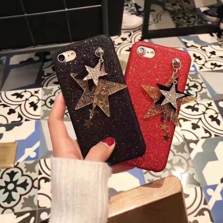 新款苹果7plus手机壳细闪粉软壳iphone6s保护套五角星吊坠手机壳
