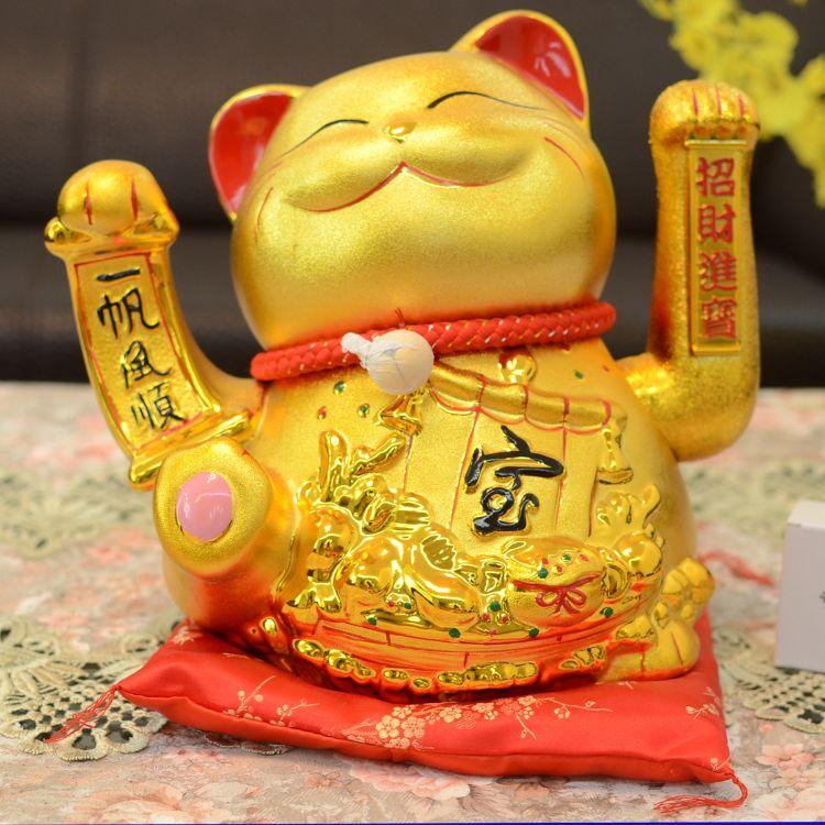 金色招财猫摆件 电动摇手陶瓷特大号发财礼品 店铺创意开业招财猫