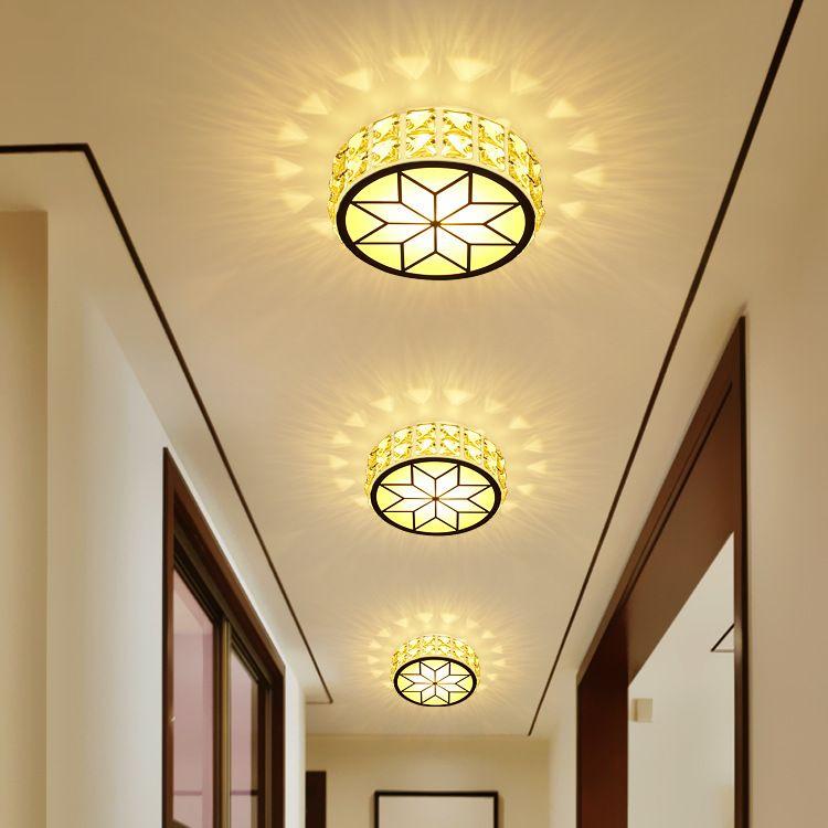 水晶过道灯走廊灯现代简约led射灯天花灯吊顶嵌入式玄关入户筒灯