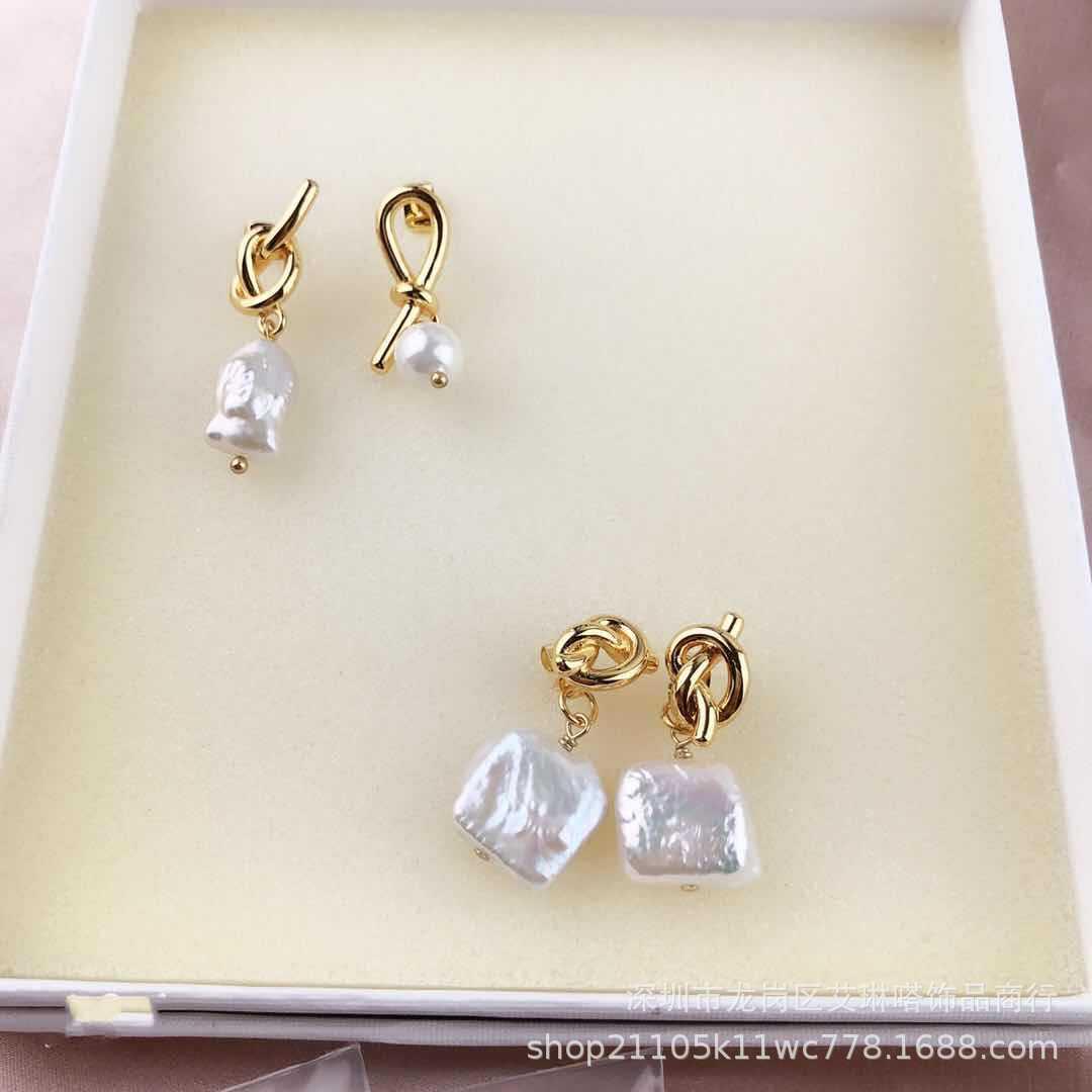 2018新款celi欧美风异形天然珍珠时尚健儿耳环