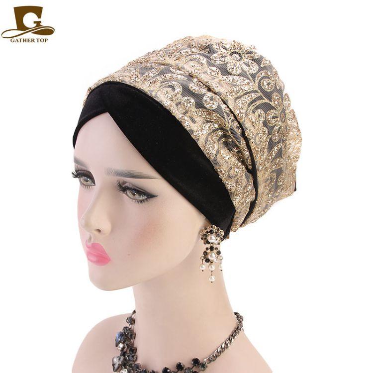 新款立体烫金粉天鹅绒围巾包头帽 穆斯林长尾裹头巾 TJM-38Y1