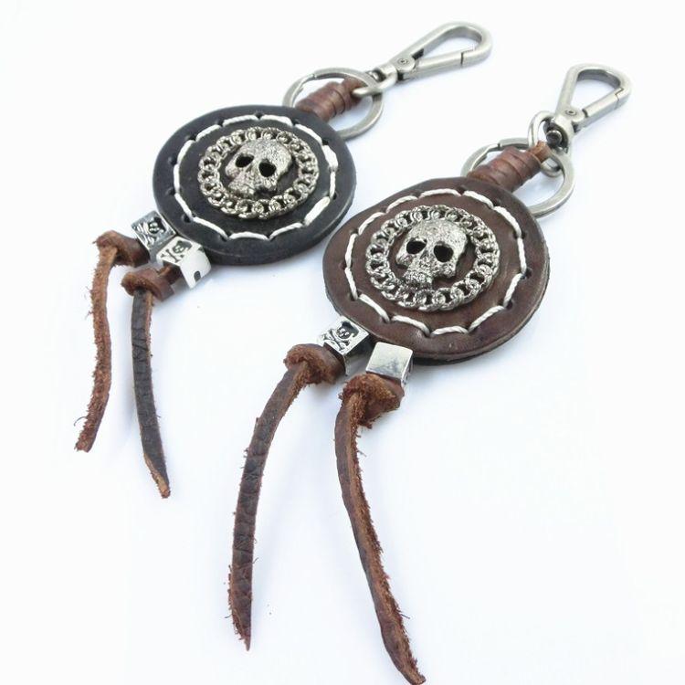 原创饰品批发 万圣节日骷髅合金钥匙挂件男士车线款潮流钥匙扣