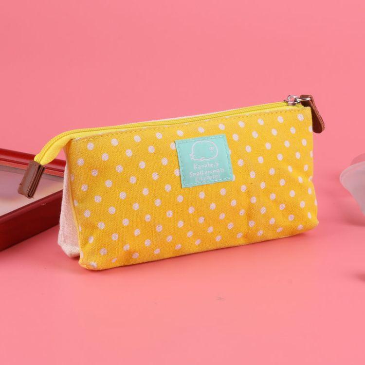 可爱圆点小清新卡通笔袋 学习文具创意帆布黄色小鸡个性铅笔袋